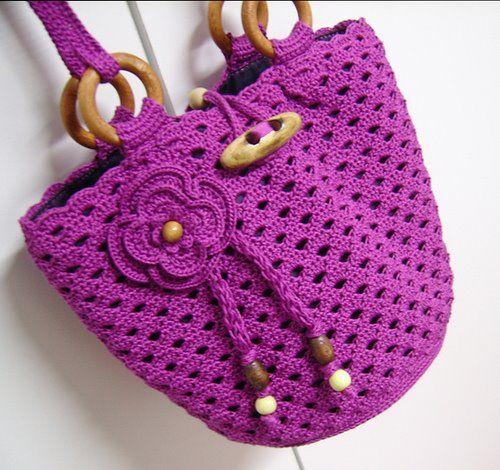 Bolsa de crochê roxa  - Inspiração Pinterest