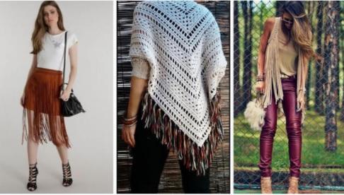 Saia de franjas| Poncho de crochê de franjas - Inspiração Pinterest