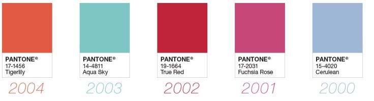 Paleta de cores eleita nos anos 2000 à 2004. - Instituto Pantone
