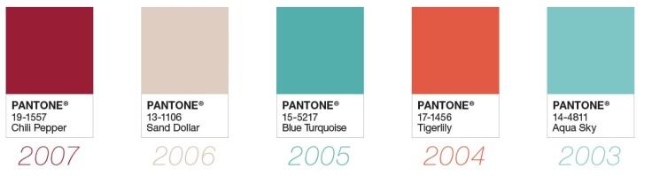 Paleta de cores eleita pela Pantone nos anos : 2003 até 2007 - Instituto Pantone