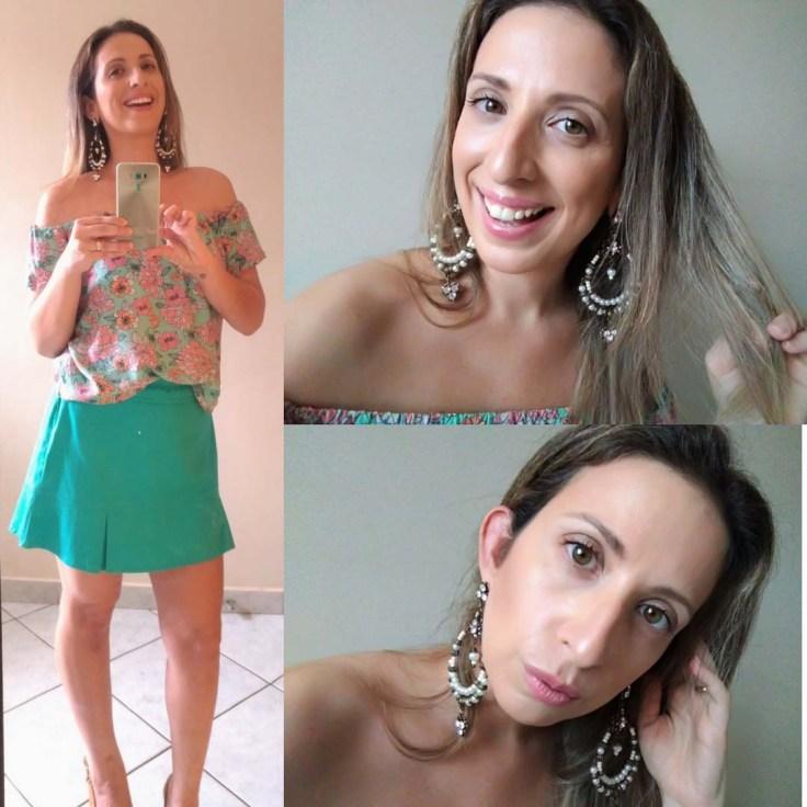 Blusa ombro a ombro com estampa  floral verde e rosa e saia de linho verde claro.