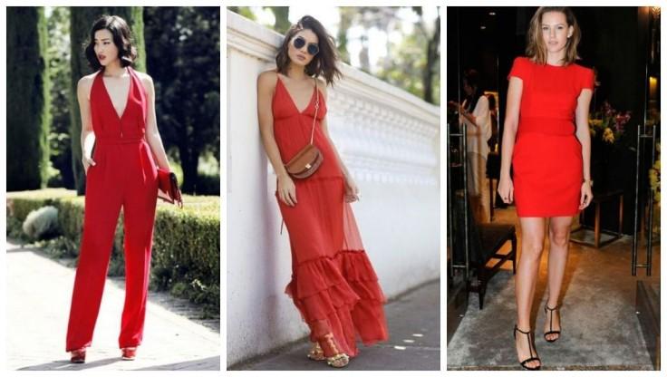 Macacão vermelho | Vestido fluido longo vermelho | Vestido curto vermelho - Imagens Pinterest