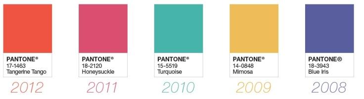 Paleta de cores eleita pela Pantone nos anos :2008 até 2012 - Instituto Pantone