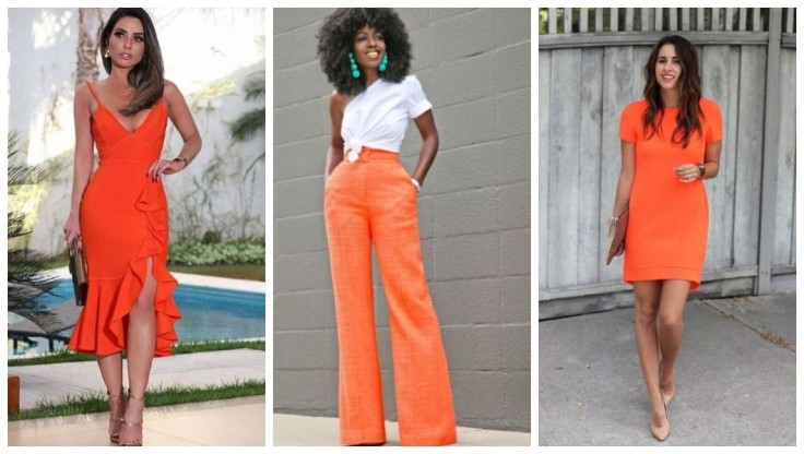 Vestido com babados midi laranja | calça laranja e blusa branca | Vestido curto laranja - Imagens Pinterest