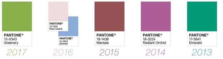 Paleta de cores eleita pela Pantone nos anos :: 2013 até 2017 - Instituto Pantone