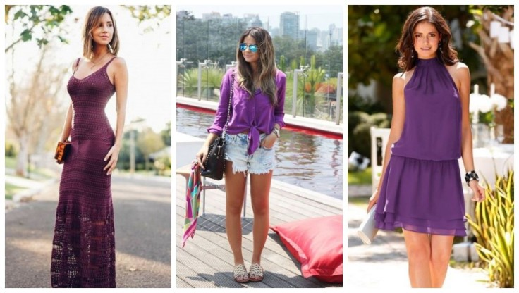 Vestido longo tricô roxo | blusa roxa e short jeans Thassia Naves | Vestido gola alta roxo - Imagens Pinterest