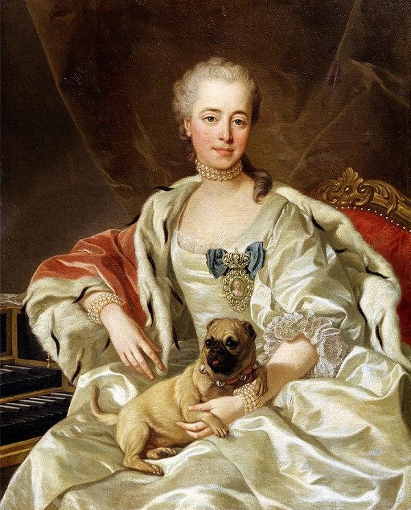 Retrato real de 1759 com chokers de pérolas.