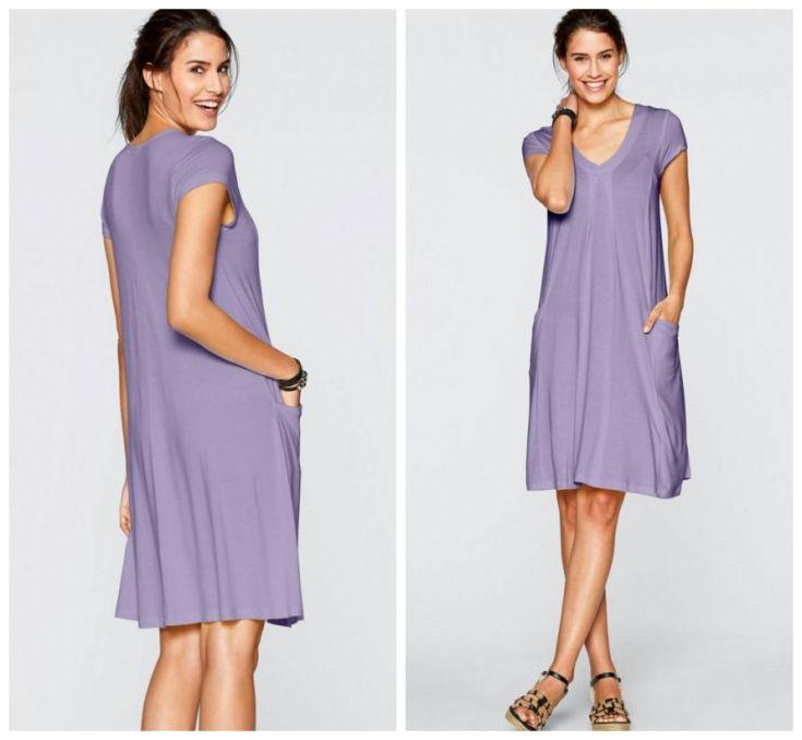 Vestido na modelagem trapézio na cor lavanda na altura do joelhos na tonalidade lavanda
