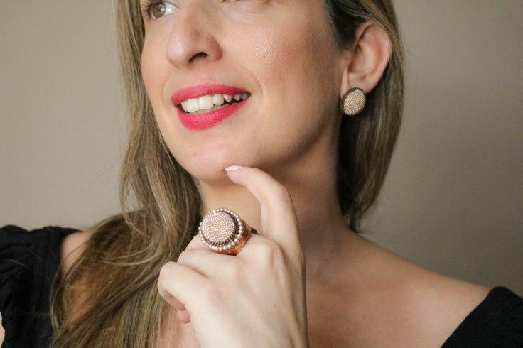 bijuterias finas - Conjunto anel e brinco perolas banho cobre velho