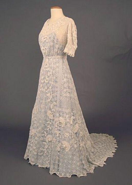 História do crochê - Vestido de noiva de crochê