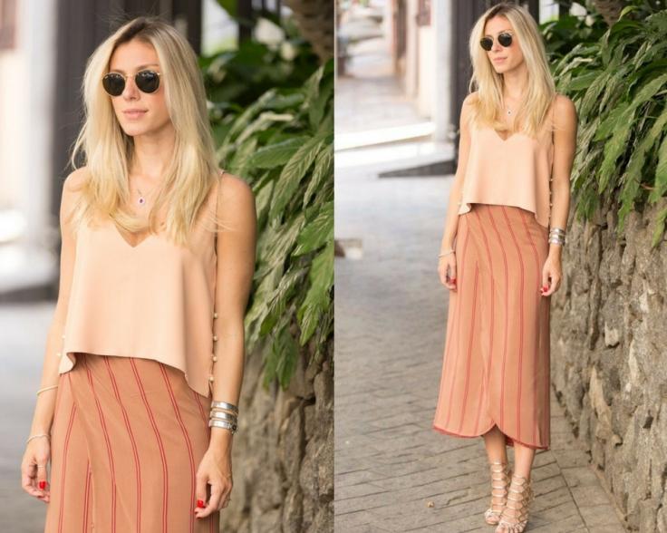 Saia midi e blusa na cor pêssego - Pinterest
