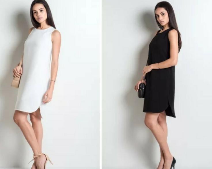 Vestido branco básico . Vestido preto básico - My Basics