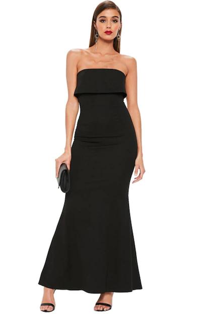 Vestido longo preto tomara que caia