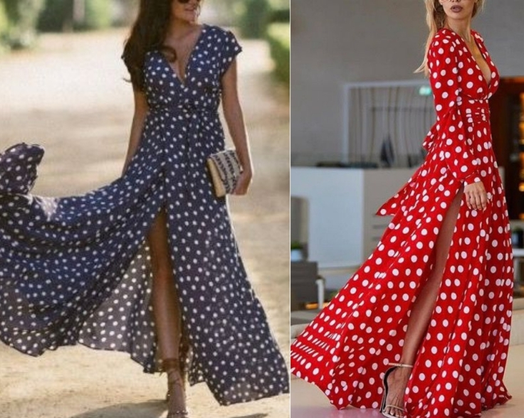 Vestido longo de estampa Poá Azul e vermelho