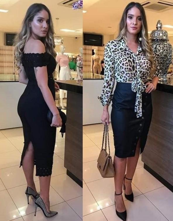 Vestido preto ombro a ombro e saia de couro fake com blusa de oncinha da Stilo Chic - Brasília