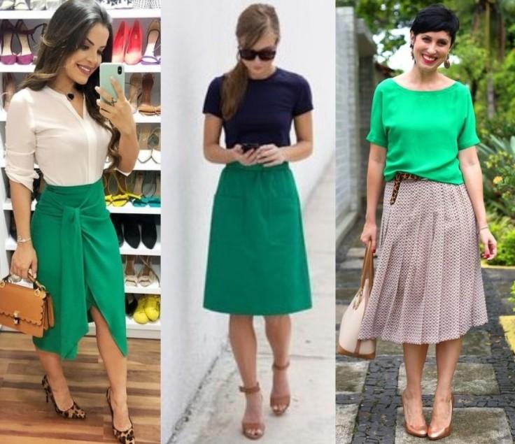 look verde com saia midi