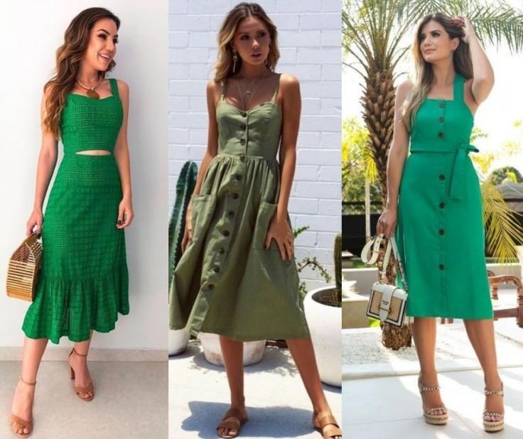 look verde com vestido midi