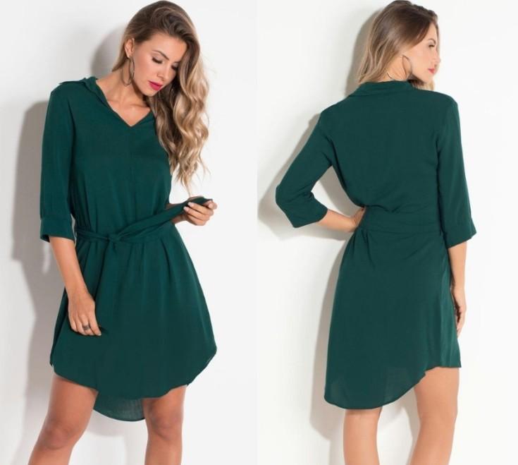 vestido curto verde musgo