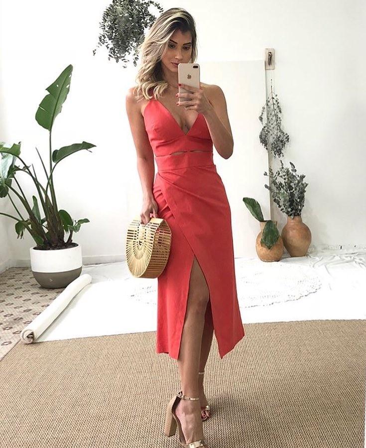 vestido midi vermelho - espaço gold