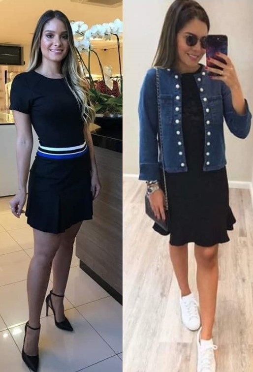 Vestido preto e jaqueta jeans_stilo chic _1