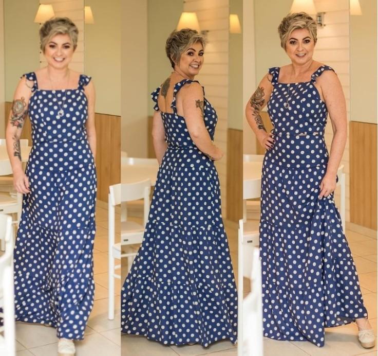 Vestidos longo azul com estampa poá- Iluminada Showroom