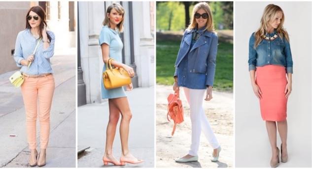 Coral com combinação complementar com o azul clarinho ou jeans- Pinterest