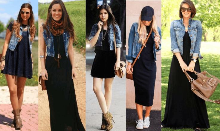 Como usar vestido preto básico com jaqueta jeans.