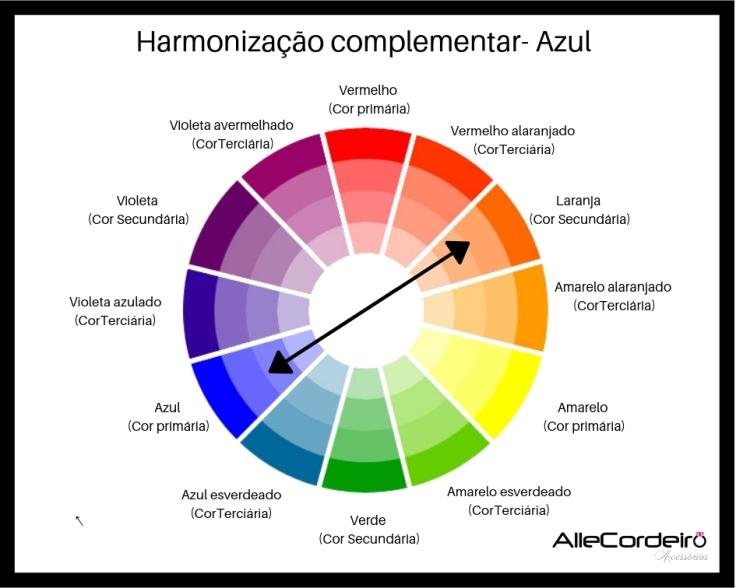 harmonização complementar da cor azul.