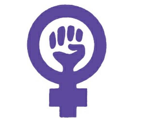 Simbolo do feminismo por volta de 1970. Aqui o violeta simboliza a ligação entre o masculino e o feminino.