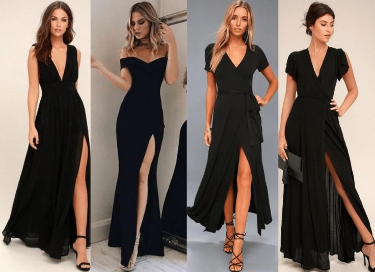 como usar vestido preto longo