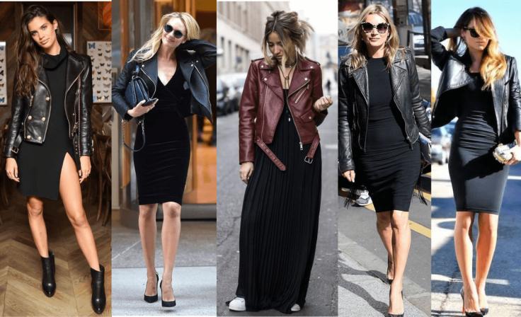 como usar vestido preto básico com jaqueta de couro