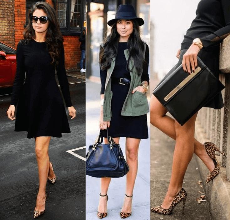 como usar vestido preto básico com sapato com estampa animal print